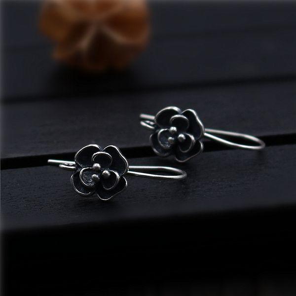 1pair Vintage Earrings Accessories S925 Sterling Silver Flower Old Ear Hooks Thai Silver Earrings Handmade Materials