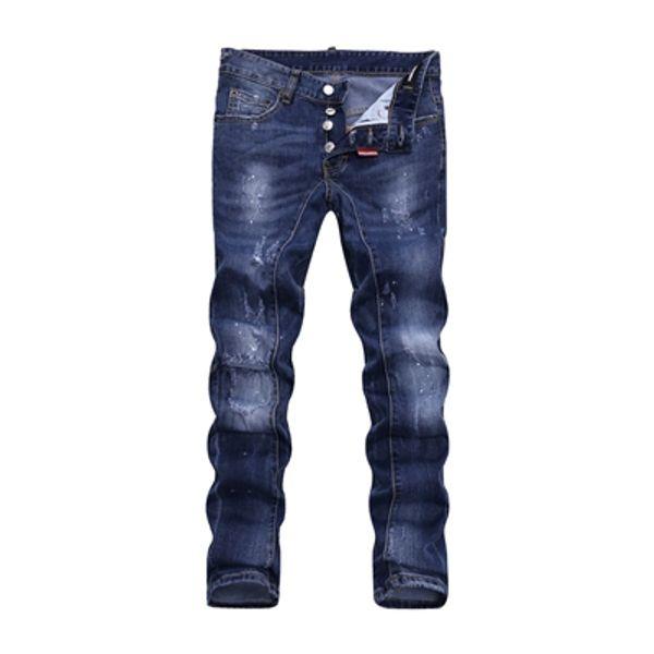 Gros slp bleu noir détruit mens slim denim droit biker jeans skinny Casual Longs hommes déchiré jeans Taille 28-38 livraison gratuite DSQ18
