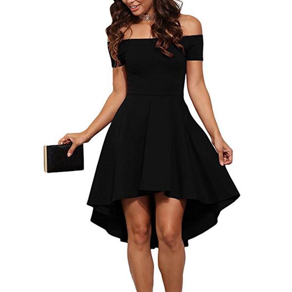 2019 Summer Women Casual Off The Shoulder Dress Short Sleeve High Low Skater Cocktail Party Evening Wedding Dresses
