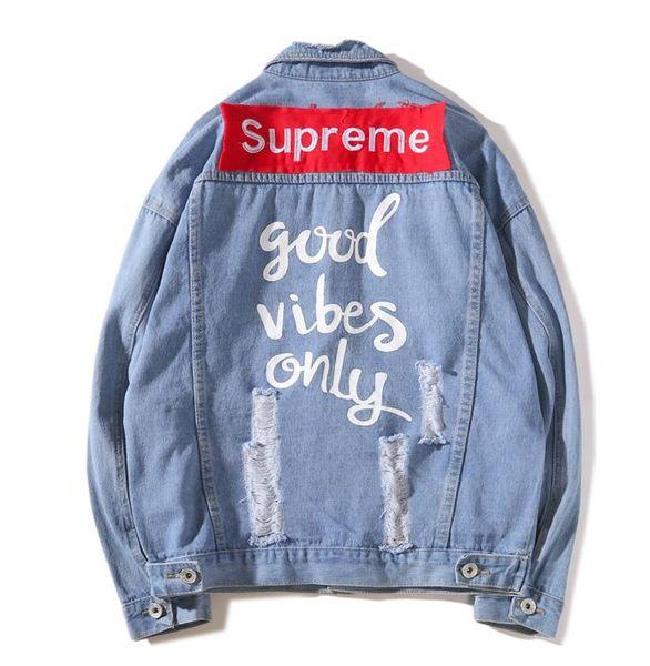 fashion Hot Sale Men's Hip Hop Jeans Jacket Navy Blue Coat Women Tops Spring And Autumn Harajuku Sweatshirts Men Womens Clothing Deni