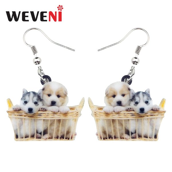 WEVENI Acrylic Basket Of Husky Shih Tzu Puppy Dog Earrings Dangle Drop New Fashion Cute Animal Jewelry For Women Girl Pet Lovers