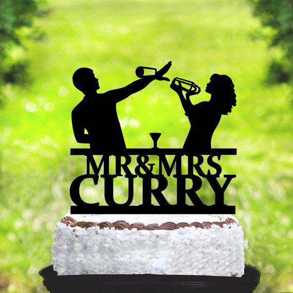 Bartender Wedding Cake Topper, Mr & Mrs Wedding Cake Topper With Last Name, Custom Topper,Personalized Topper, Couple Toppe