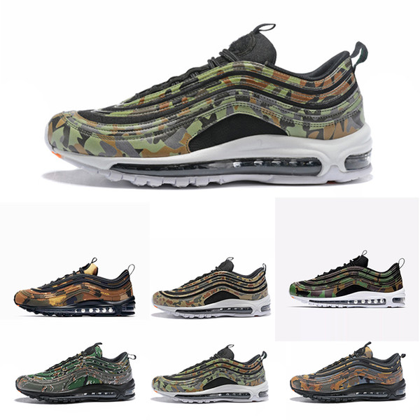 online retailer 1c466 910b0 Hot Sale 97 Country Camo Japan Italy France Uk Army Green Running Shoes Men  97s Camouflage Ultra Bullet 3m Premium Zoom Trainers Sneakers Mens Casual  ...