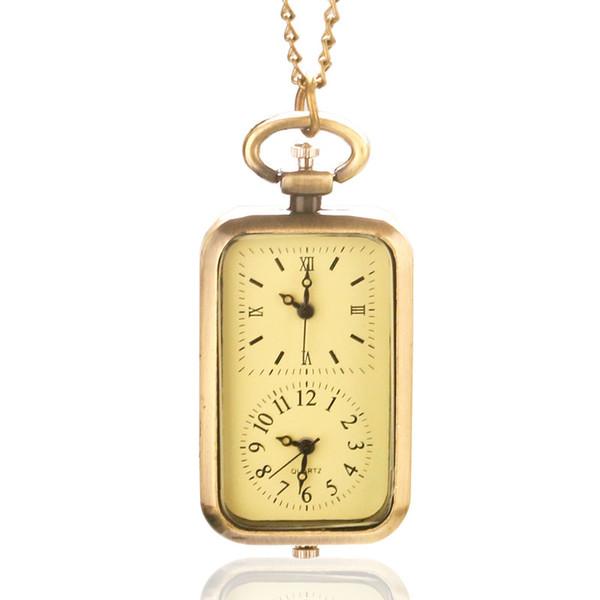 Vintage Bronze Dual Double Time Zone Rectangle Pocket Watch Quartz Movement Women Ladies Dress Watches Necklace Chain Gift
