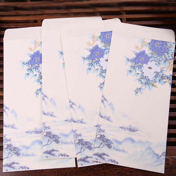 10pcs/lot Chinese Style Business Envelope for Invitation Flower Printed Craft Paper Envelopes Wedding Paper Hand-painted Ink Bag