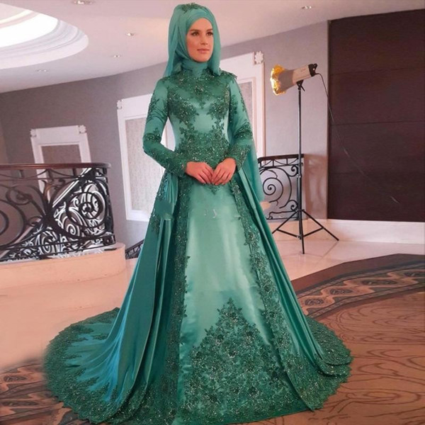 2018 Long Sleeves Muslim Evening Dresses Elegant High Neck Appliques Beaded Lace Satin Green Party Gowns Formal Prom Dress Sweep Train