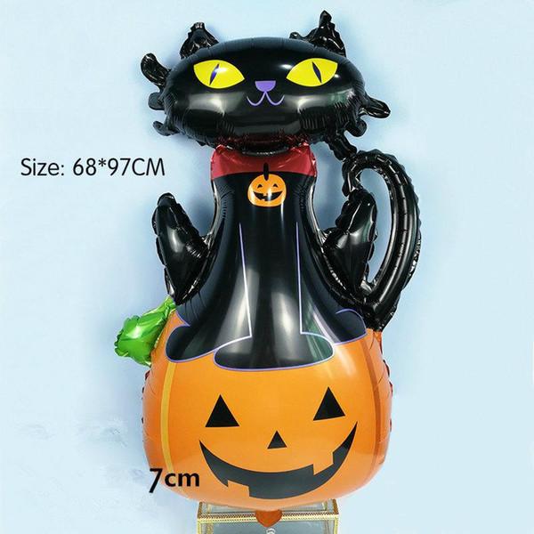 Nuovo pallone di alluminio palloncino Decorazione di Halloween Puntelli Spider Bat Fantasma Lettera Happy Halloween Flag Decorazione di sera