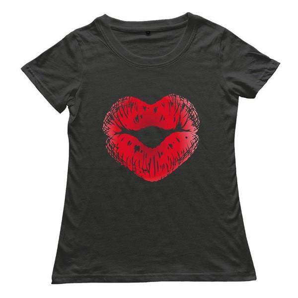 Hot Sale Summer Short Sleeve Women Cool Short Sleeve T-shirt - Kiss Lipstick For Women's Black Summer Style Casual Clothin
