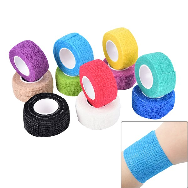 2.5 cm x 4.5 m 1 adet Yapıştırıcı Esnek Bandaj Pamuk Yapıştırıcı Bandaj spor bant Kendinden Yapışkanlı elastik 11 Renkler