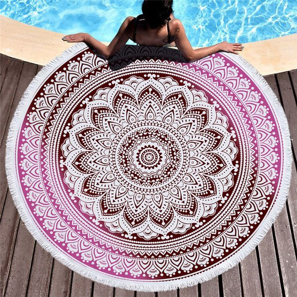 26 Estilos Mandala Superfine Fibra Ronda Toalla de playa 150 cm Microfibra Beach Swim Toalla de baño Bikini Cubiertas Yoga Mat Toalla
