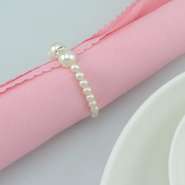 100 unidades / pacote pérola strass arco titulares de casamento anéis de guardanapo diy decorações decoração de mesa artesanato