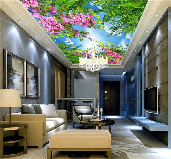 Acheter Simple Ciel Chaud Cerise Bleu Ciel Blanc Nuages Salon Plafond Plafond 3d Stéréo Papier Peint Grande Murale Papier Peint De 24 13 Du