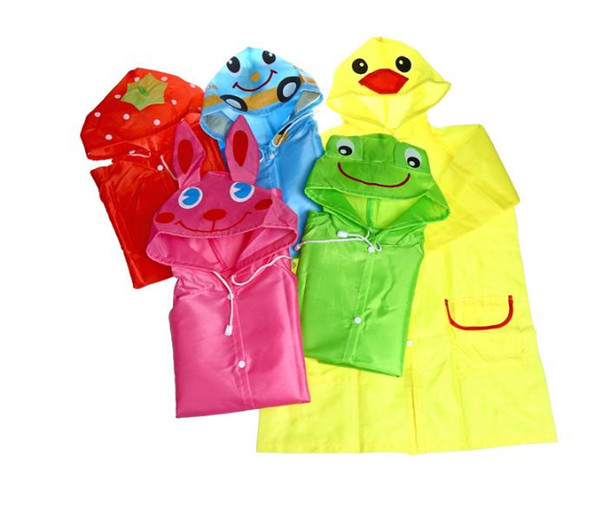 Linda Funny Rain Coat Kids Children Raincoat Rainwear Rainsuit Kids Waterproof Animal Raincoat 5 color HOT SN1068