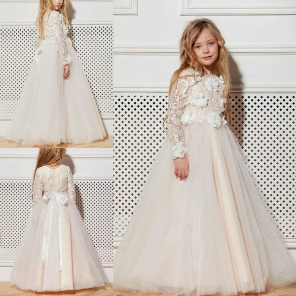 A Line With Beads Bow Flower Girl Dresses Long Sleeve Pierced Applique Pageant Dress Floor Length With Sash Girls Skirt