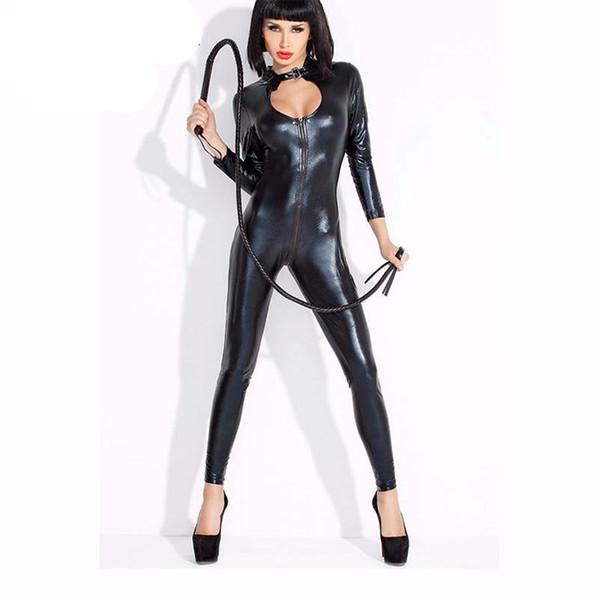 Wonder Beauty Women Wet Look Faux Vinyl Catsuit Zipper to Crotch Latex Long Bodysuit Halloween Catwomen Sexy Leather Jumpsuit