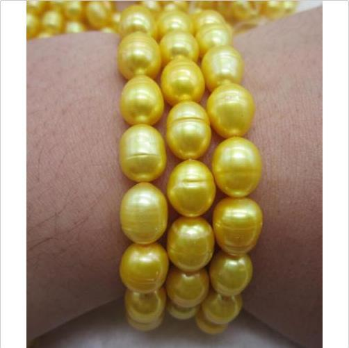 "Triple strands 11-13MM South Sea gold Baroque Pearl bracelet 7.5-8"" 14k Clasp @"
