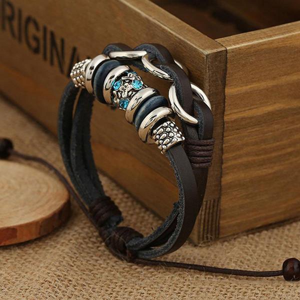 Wholesale New Leder geflochtene Armbänder für Frauen Männer Schmuck Retro Multilayer Charme verstellbare Wrap Perlen Armband