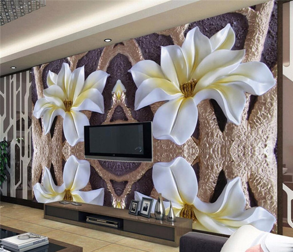3D photo wallpaper Dimensional relief murals living room TV background lotus 3D large wall mural wallpaper Modern painting