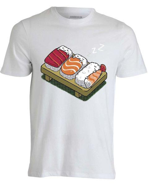 Sleeping cartoon Sushi cute anime Japan style art a Funny men top white T shirt