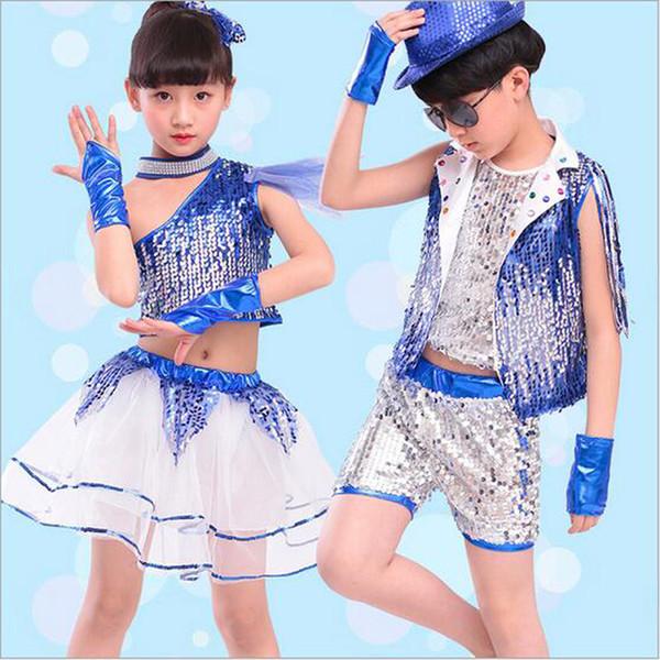 Bazzery Çocuk Caz Dans Giysileri ile Bilekliği Modern Dans Balo Salonu Kostüm Caz Suit İlköğretim okulu anaokulu Çocuklar için