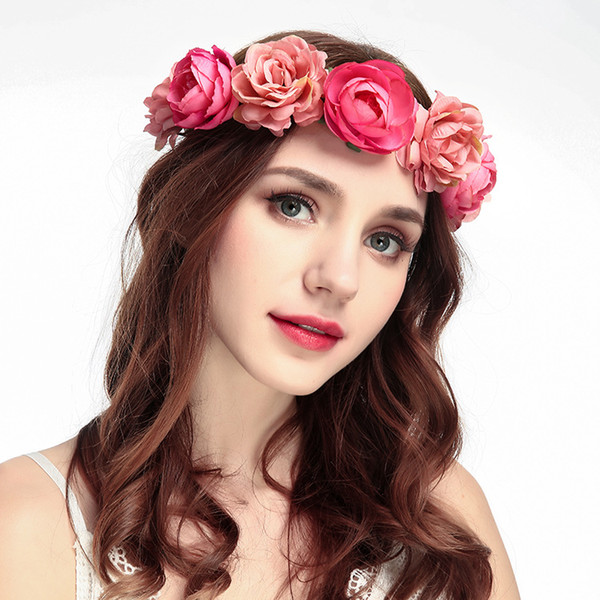 2019 New Flower Crown Headbands Wreath Wedding Flower Tiaras Bridal Wreaths Garland Boho Crowns For Brides Headwear Fascinator Hats