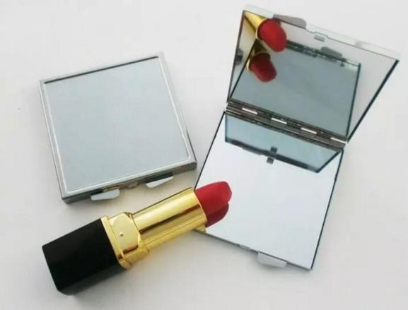 Metal Square Compact Mirror Blank Makeup Mirror with Bezel Silver Free Shipping bb355-362 2018012206