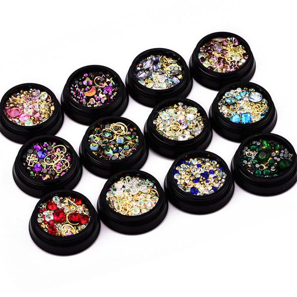 2019 Chaude 1 Boîte Mixte Conception Des Ongles Coloré Micro Perles et Gemstone Cercle 3D Nail Art Glitter Cristal AB Non Hotfix Diamant Strass
