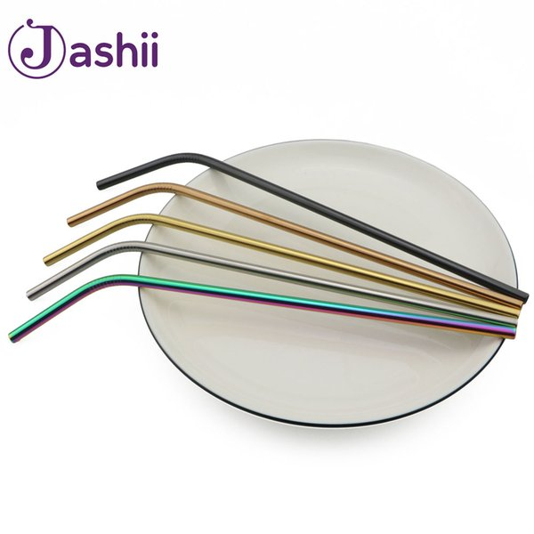 Rainbow Extra Long Straws Reusable Metal 304 Stainless Steel Drinking Straws Brush Metal Drink Juice Bar Accessorie Party