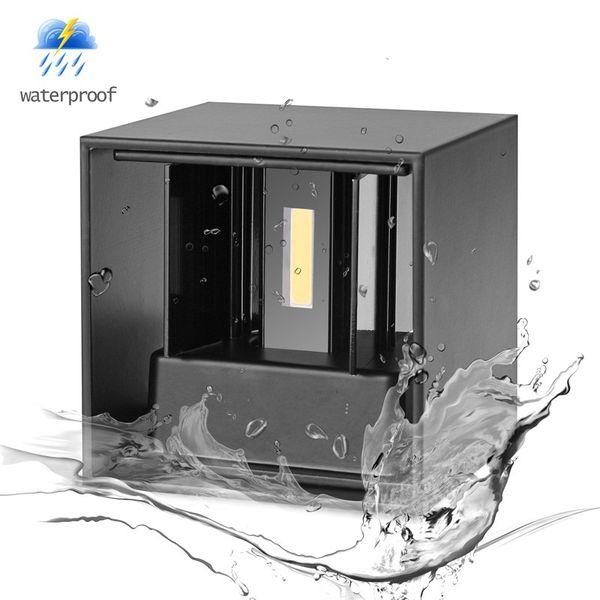 Açık / Kapalı Ayarlanabilir Alüminyum Yüzeye Monte 12 W COB Su Geçirmez Küp LED Işık Duvar Lambası Modern Ev Aydınlatma Dekorasyon açık wal