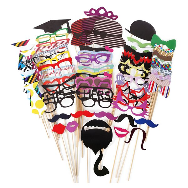 76pcs /Set Colorful Fun Lip Mustache Creative Photo Booth Props Wedding Party Decoration Birthday Christmas New Year Event Favors