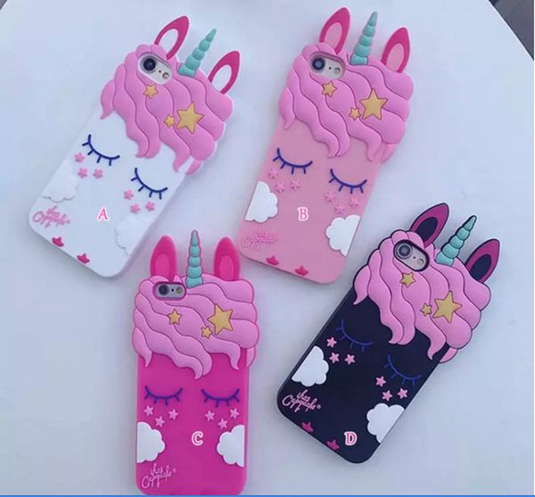 3D Cute Cartoon Unicorn Case For Iphone X 8 7 Plus 6 6S Plus Smile Loverly Cute Cartoon Skin Cover Unicorn Animal 3d Silicone case