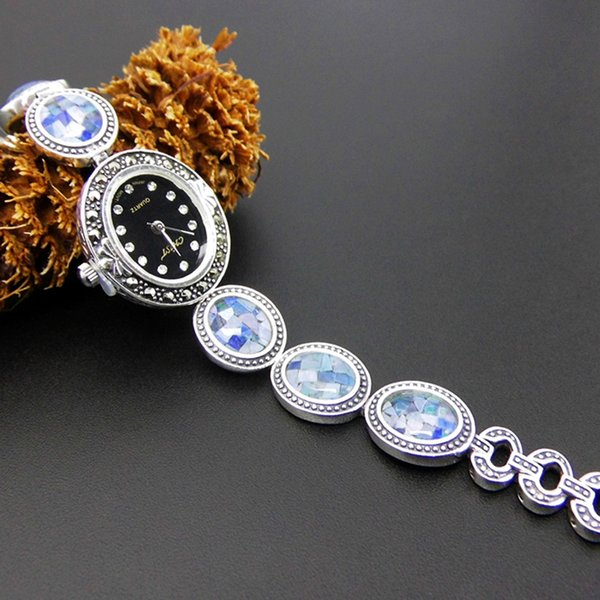 luxury watch designer 925 sterling silver wristwatches marcasite thai silver women watches quartz brand simple vintage china direct