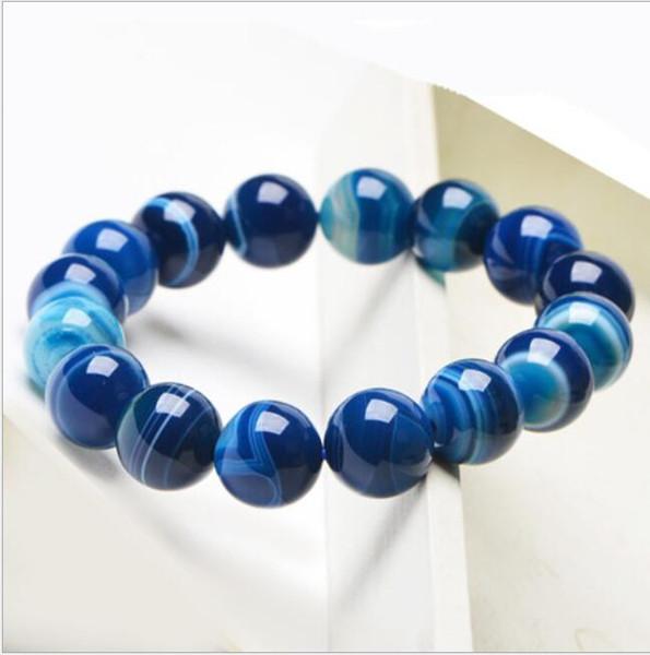 Natürliche blaue Achat Armband, gestreifte Achat Schmuck Fabrik direkt Großhandel