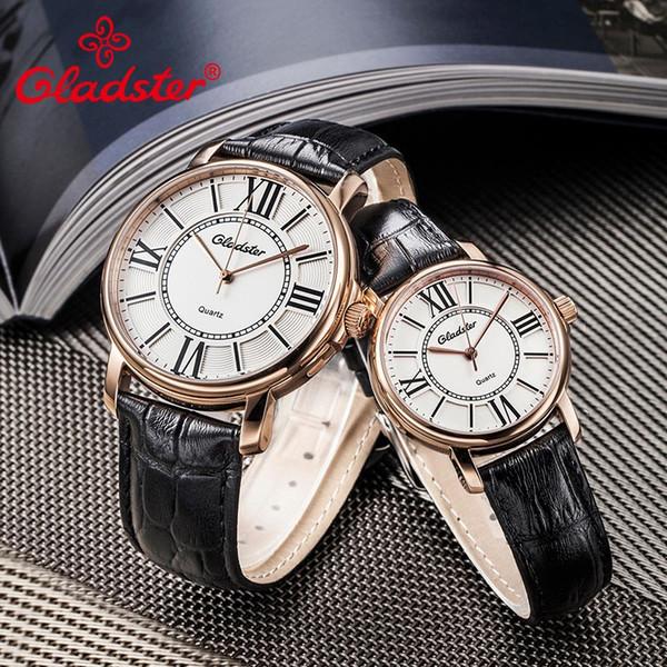 Gladster Japan MIYOTA 2035 Einfache Schwarze Leder Damenuhr Wasserdichte Goldene Weibliche Quarz Armbanduhr Lässige Charme Dame Uhren