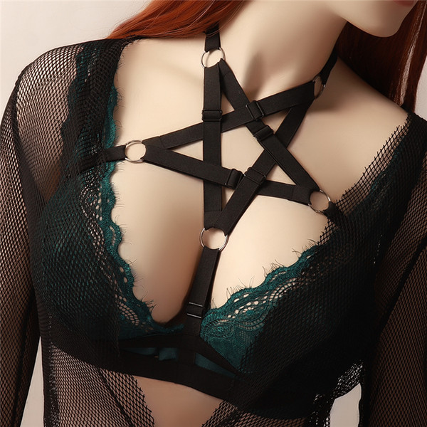 BODY CAGE Schwarz Pentagram Körper Geschirr Dessous weichen elastischen anpassen Tops Bondage Harness BH Goth Fetisch Erotische Full Sexy Harnes