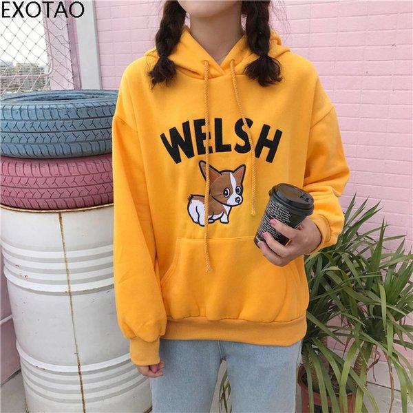 EXOTAO плюс размер симпатичные толстовка женщины щенок собака вышивать с длинным рукавом толстовка спортивный костюм свободные корейский стиль передний карман толстовки