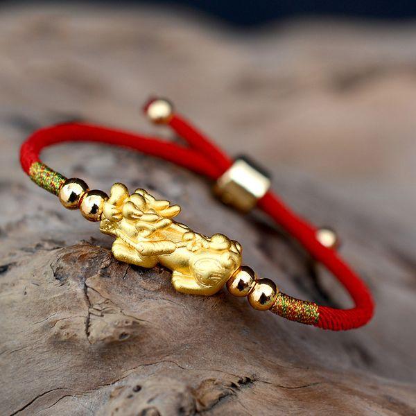 Şanslı Kırmızı Halat Bilezikler 999 Ayar Gümüş Pixiu Altın Renk Tibet Budist Knot Kadınlar Için Ayarlanabilir Charm Bilezik