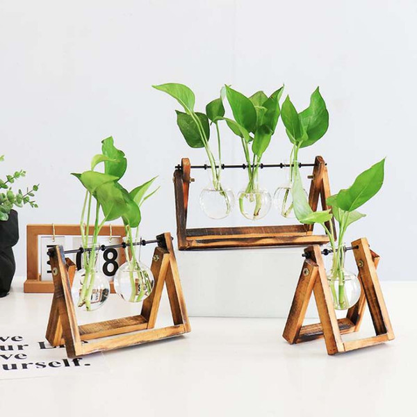 best selling Simple modern small fresh vase living room decoration ornament creative hydroponic green plant transparent glass container
