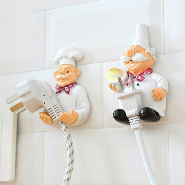 Resin Fat Chef Pothook Cable Clips Hanger Mobile Power Plug Keys Towels Holder Hook Organizer Wall Decor for Kitchen Bathroom Home