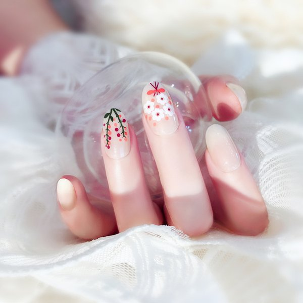 Pre Glue White Press On Fake Nails With Flower Designs Long Full