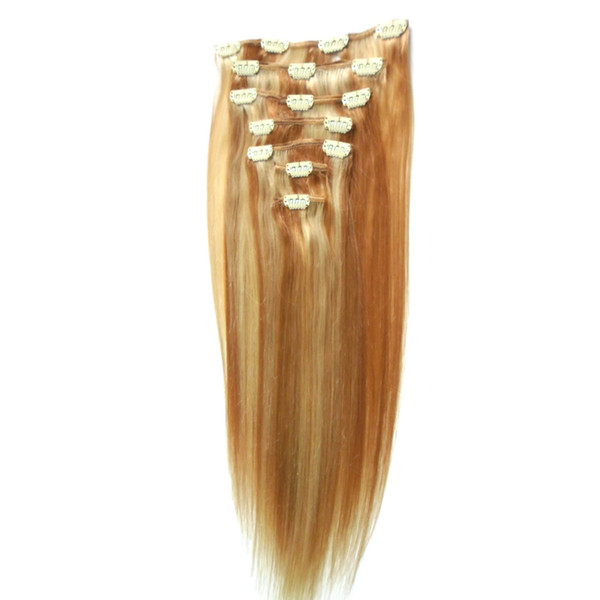 "10""-24"" Clip In Human Hair Extensions Straight Full Head Set 8pcs 100g Remy Hair Malaysian Full Head Clip in Human Hair Extensions"