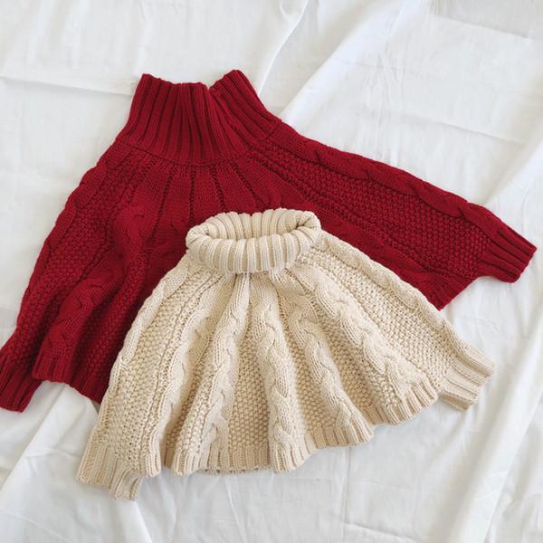 Girls Twist Knitted Shawl Children High Collar Bat Sleeve Poncho Kids  Sweater Princess Capes Autumn Winter Girls Cloaks Red Beige F3081 Fleece  Poncho