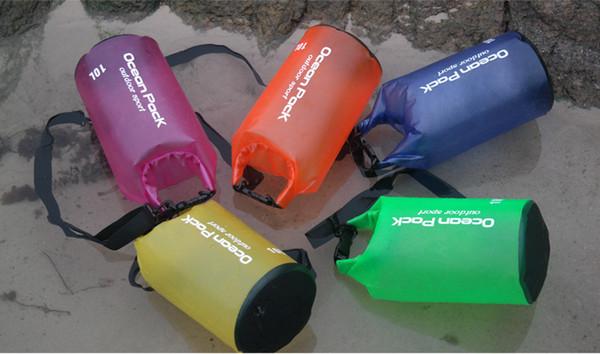 10L PVC Saco de Praia de armazenamento À Prova D 'Água Seco balde de viagem com Alças de Ombro Ajustável para Passeios de Barco Caiaque Rafting Saco Dobrável 50 Pcs
