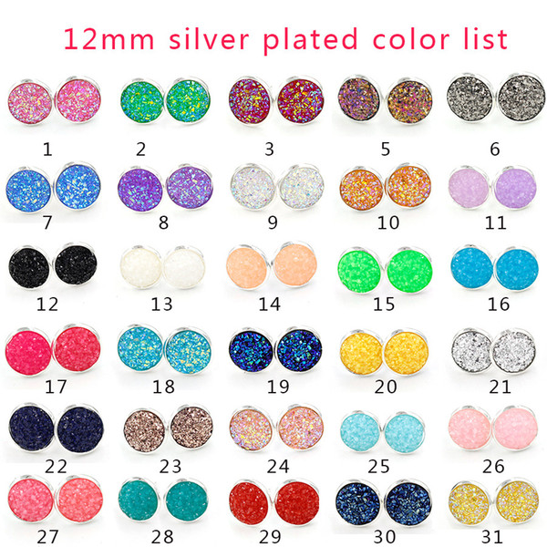 best selling Fashion Silver Gold plated Round stainless steel 12mm Resin Druzy Drusy Earrings Handmade Stud for Women Jewelry