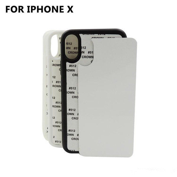 10 pcs détail bricolage Sublimation 2D Silicon Case pour iPhone 8 blanc imprimé couverture de transfert de chaleur pour iPhone X avec aluminium Plaque