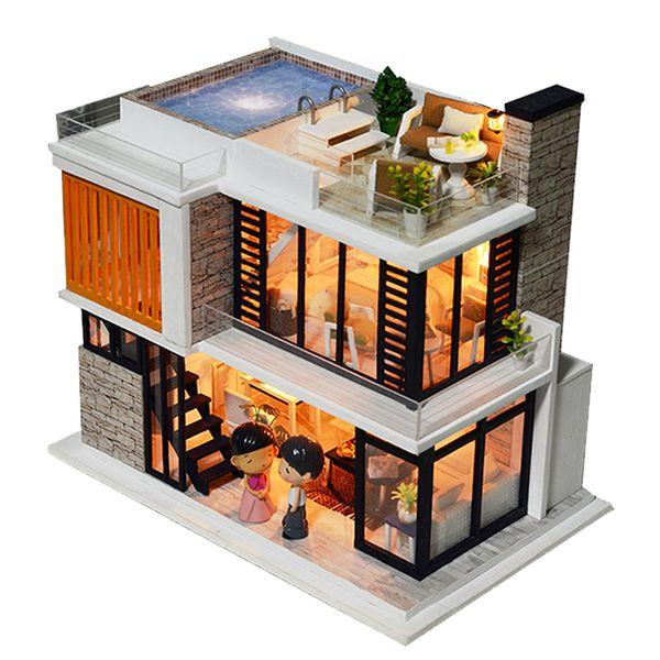 Casa de Muñecas Diy Miniatura de Madera Miniatura Dollhouse Muebles Piscina Edificio Kits de Villa Juguetes para Niños Regalos de Navidad