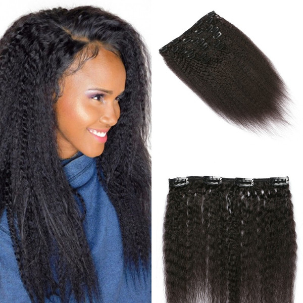 Kinky Straight Human Hair Clip in Hair Extensions for African American Coarse Yaki Mongolian Virgin Hair Clip ins FDshine