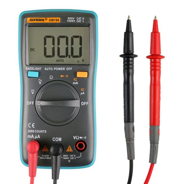 AUTOOL DM198 Taşınabilir Otomatik Kademe Dijital Multimetre 2000 Sayımlar Arka Işık LCD Dijital Ekran AC / DC Ampermetre Voltmetre