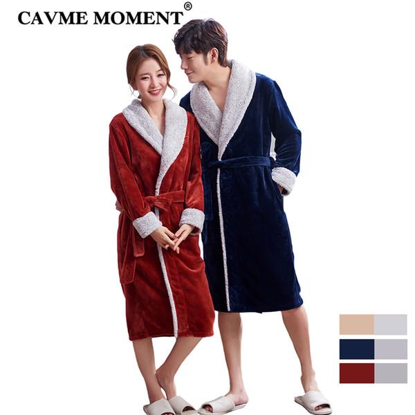 CAVME CUSTOM Winter Long Bathrobe for Lover Women Ladies Men's Flannel Robes Kimono Patchwork Nightwear Dressing Down