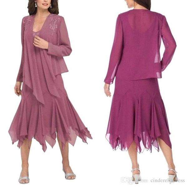 New Chiffon Mother of Bride Suits Dress Long Sleeves Coat Lace Applique Tea Length Wedding Guest Dress Formal Evening Gown BA9175